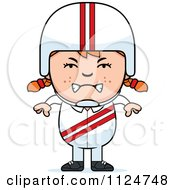 Cartoon Of An Angry Red Haired Daredevil Stunt Girl Royalty Free Vector Clipart