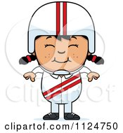 Cartoon Of A Happy Asian Daredevil Stunt Girl Royalty Free Vector Clipart