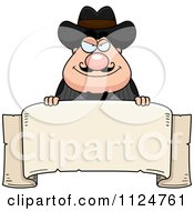 Cartoon Of A Happy Chubby Male Wild West Cowboy With A Banner Sign Royalty Free Vector Clipart