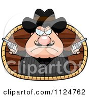 Cartoon Of A Chubby Male Wild West Cowboy Holding Guns Royalty Free Vector Clipart by Cory Thoman