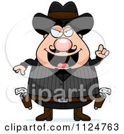 Cartoon Of A Chubby Male Wild West Cowboy With An Idea Royalty Free Vector Clipart