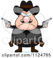 Cartoon Of An Angry Chubby Male Wild West Cowboy Holding Pistols Royalty Free Vector Clipart
