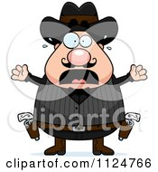 Cartoon Of A Scared Chubby Male Wild West Cowboy Royalty Free Vector Clipart
