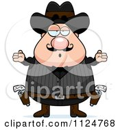 Cartoon Of A Careless Shrugging Chubby Male Wild West Cowboy Royalty Free Vector Clipart by Cory Thoman