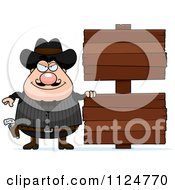 Cartoon Of A Happy Chubby Male Wild West Cowboy With A Wooden Sign Royalty Free Vector Clipart