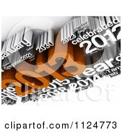 Clipart Of A 3d Orange And White New Year 2013 Word Collage Royalty Free CGI Illustration by MacX