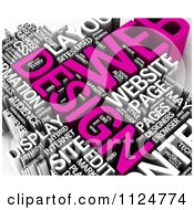 Clipart Of A 3d Pink And White Web Design Word Collage Royalty Free CGI Illustration