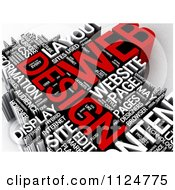 Clipart Of A 3d Red And White Web Design Word Collage Royalty Free CGI Illustration by MacX