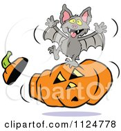 Clipart Of A Vampire Bat Dancing On A Halloween Jackolantern Royalty Free Vector Illustration by Johnny Sajem