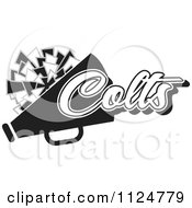 Clipart Of A Black And White Colts Cheerleader Design Royalty Free Vector Illustration