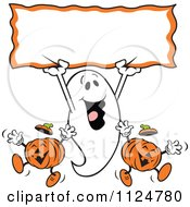 Clipart Of A Happy Halloween Ghost Holding Up A Sign Over Jackolantern Pumpkins Royalty Free Vector Illustration