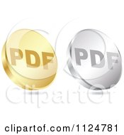 Clipart Of 3d Gold And Silver PDF Format Coin Icons Royalty Free Vector Illustration by Andrei Marincas