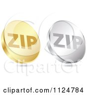 Clipart Of 3d Gold And Silver ZIP Format Coin Icons Royalty Free Vector Illustration by Andrei Marincas
