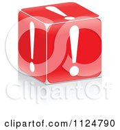 Clipart Of A 3d Red Exclamation Point Box Royalty Free Vector Illustration