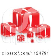 Clipart Of 3d Red Exclamation Point Boxes Royalty Free Vector Illustration