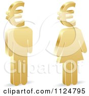 3d Golden People With Euro Symbol Heads