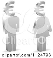 3d Silver People With Euro Symbol Heads