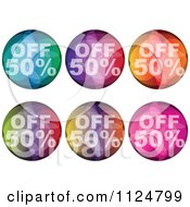 Clipart Of Colorful Fifty Percent Off Orb Icons Royalty Free Vector Illustration