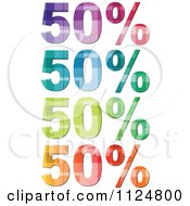 Clipart Of Colorful Fifty Percent Icons Royalty Free Vector Illustration