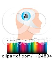Clipart Of An Eyeball Head Over Colors Royalty Free Vector Illustration by Andrei Marincas