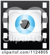 Clipart Of A Blue Bloodshot Eye Frame On A Film Strip Royalty Free Vector Illustration