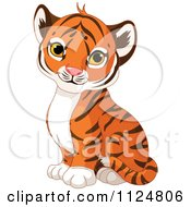Cartoon Of A Cute Baby Tiger Cub Sitting Royalty Free Vector Clipart by Pushkin