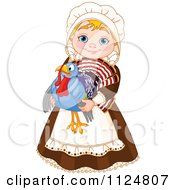Cartoon Of A Cute Thanksgiving Pilgrim Woman Holding A Turkey Bird Royalty Free Vector Clipart