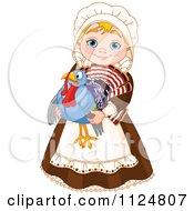 Cute Thanksgiving Pilgrim Woman Holding A Turkey Bird