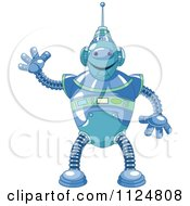 Cartoon Of A Friendly Blue Robot Waving Royalty Free Vector Clipart