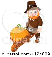 Cartoon Of A Happy Thanksgiving Gnome Man Pushing A Pumpkin In A Wheelbarrow Royalty Free Vector Clipart by Pushkin