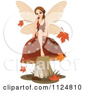 Cartoon Of A Beautiful Autumn Fairy Sitting On A Mushroom Royalty Free Vector Clipart