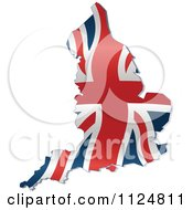 Cartoon Of A Union Jack Flag England Map Royalty Free Vector Clipart