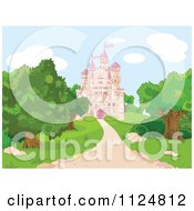 Cartoon Of A Pink Fairy Tale Castle And Grounds Royalty Free Vector Clipart by Pushkin