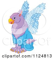 Cartoon Of A Cute Purple Griffin Fantasy Creature Sitting Royalty Free Vector Clipart by Pushkin