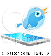 Cartoon Of A Social Networking Bluebird Over A Cell Phone Royalty Free Vector Clipart