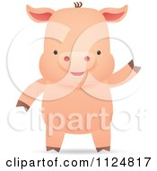 Cute Piggy Smiling And Waving