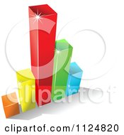 Clipart Of A 3d Colorful Bar Graph And Shadow 7 Royalty Free Vector Illustration