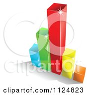 Clipart Of A 3d Colorful Bar Graph And Shadow 4 Royalty Free Vector Illustration