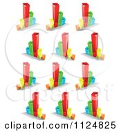 Clipart Of 3d Colorful Bar Graphs And Shadows Royalty Free Vector Illustration