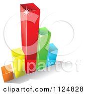 Clipart Of A 3d Colorful Bar Graph And Shadow 2 Royalty Free Vector Illustration