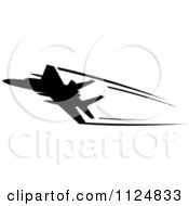 Clipart Of A Black Silhouetted Airplane And Trails 4 Royalty Free Vector Illustration