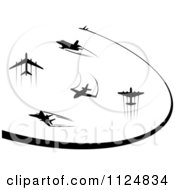 Clipart Of Black Silhouetted Airplanes And Trails Royalty Free Vector Illustration by Vector Tradition SM