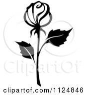 Clipart Of A Black And White Rose Flower 15 Royalty Free Vector Illustration