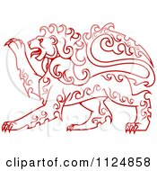 Clipart Of A Red Curly Haired Royal Heraldic Lion Royalty Free Vector Illustration