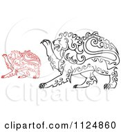 Clipart Of Red And Black Curly Haired Royal Heraldic Lions Royalty Free Vector Illustration