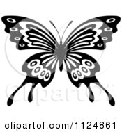 Clipart Of A Black And White Butterfly 19 Royalty Free Vector Illustration by Seamartini Graphics