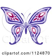Clipart Of An Ornate Purple Butterfly Royalty Free Vector Illustration