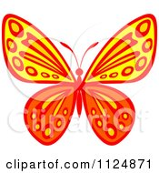 Clipart Of An Ornate Orange And Yellow Butterfly Royalty Free Vector Illustration