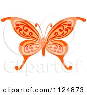 Clipart Of An Ornate Orange Butterfly Royalty Free Vector Illustration by Vector Tradition SM