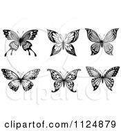Clipart Of Black And White Butterflies 2 - Royalty Free Vector Illustration by Vector Tradition SM #COLLC1124879-0169